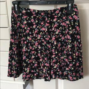Nordstrom Black Floral Skater Skirt